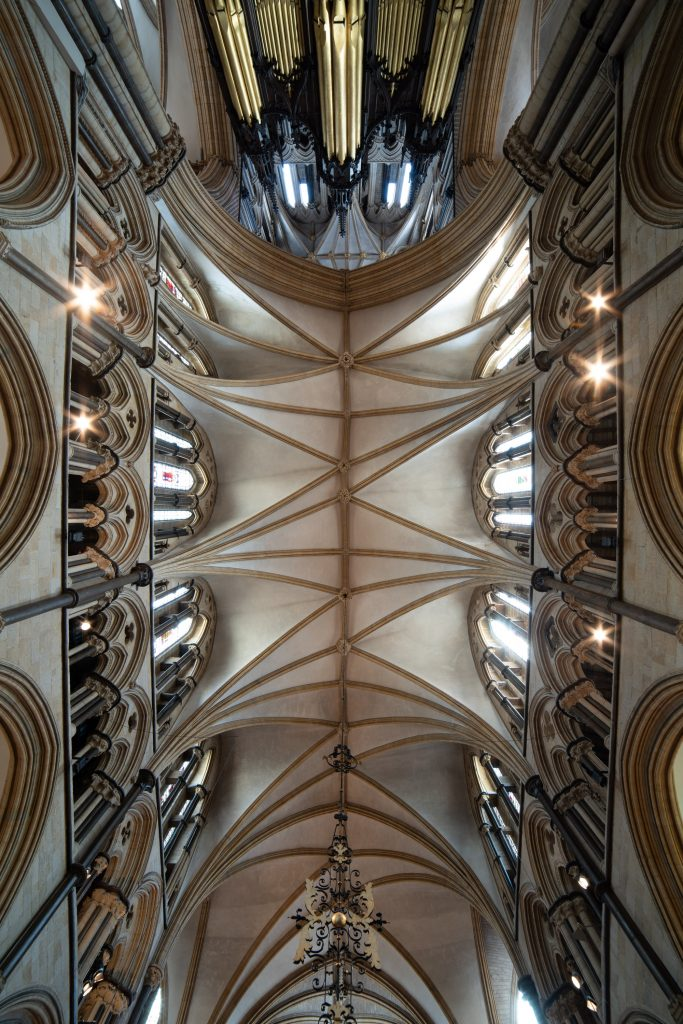 Image of the vault in St Hugh's Choir at Lincoln Cathedral, looking up