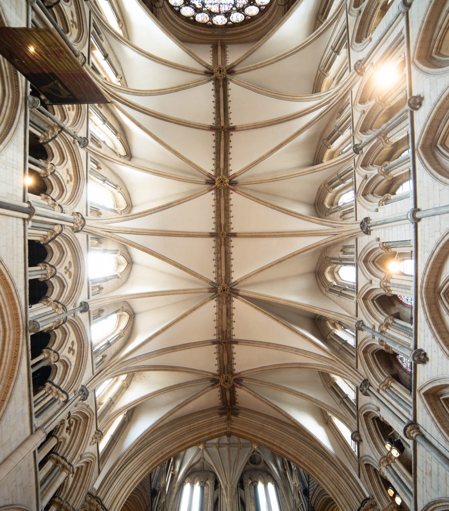 Image of the vault in the Great Transept at Lincoln Cathedral, north arm, looking up