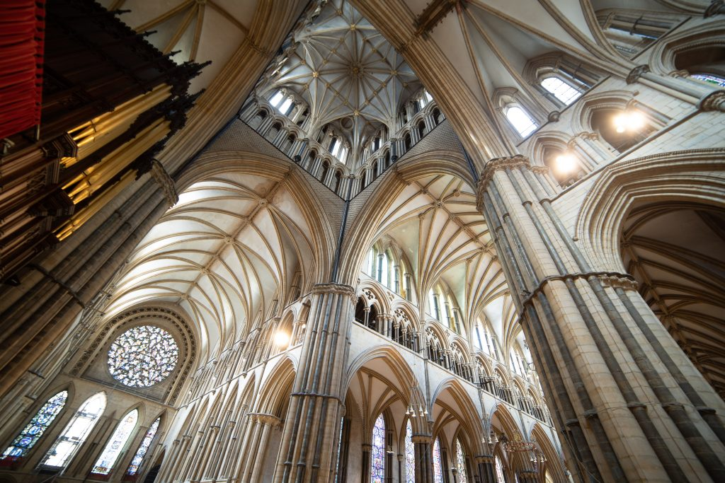 Image of crossing at Lincoln Cathedral, looking southwest