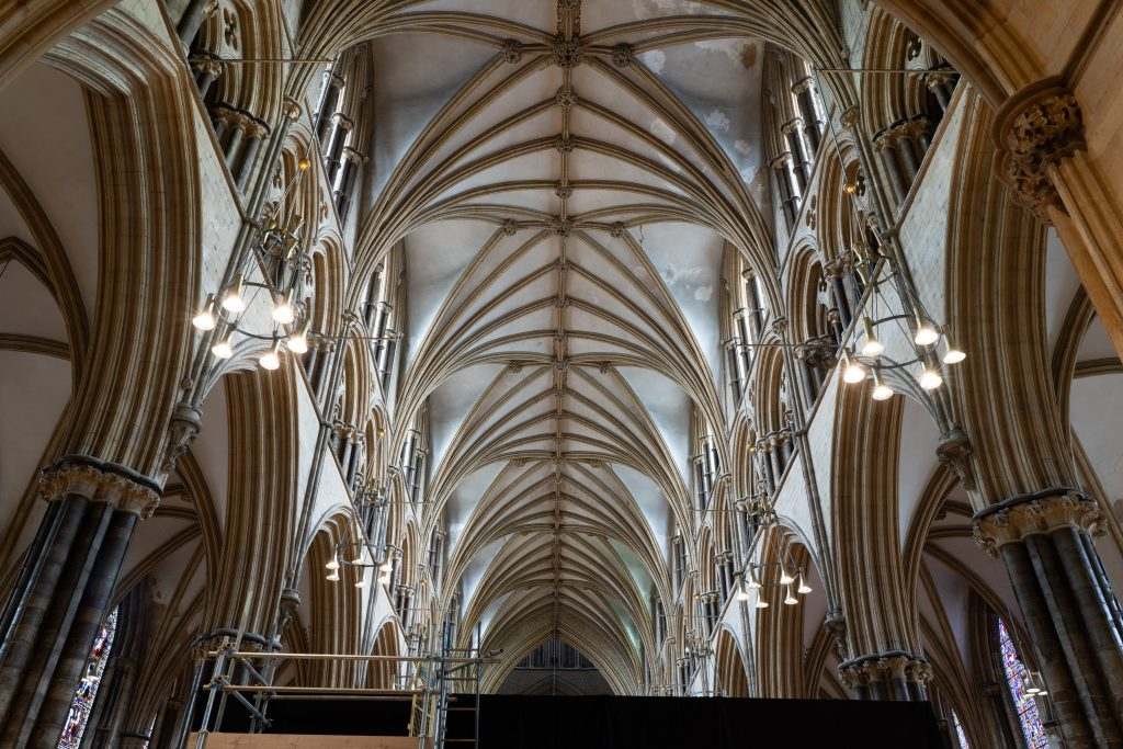 Image of the vault in the nave at Lincoln cathedral, looking west