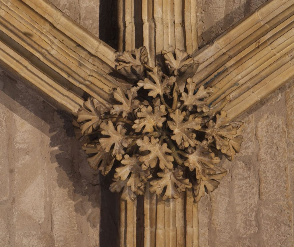 Image of boss in the Angel Choir at Lincoln Cathedral showing field maple foliage