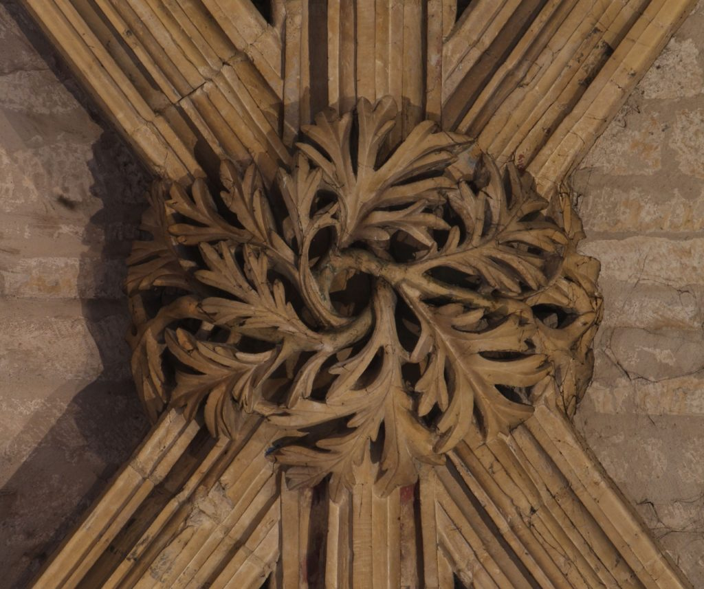 Image of boss in the Angel Choir at Lincoln Cathedral showing wormwood leaves