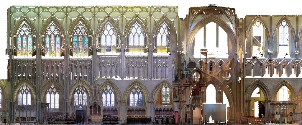 Orthophoto of longitudinal section of the choir, crossing and nave at Wells Cathedral, showing differences in apex height
