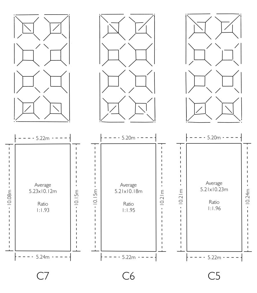 Plan view of wireframe model showing dimensions of the bays in the choir at Wells Cathedral