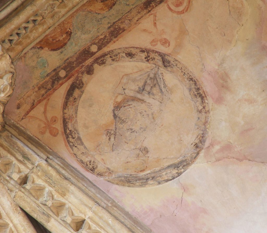 Image of painting adjoining the central boss in south transept at Lincoln, showing a bishop in a roundel