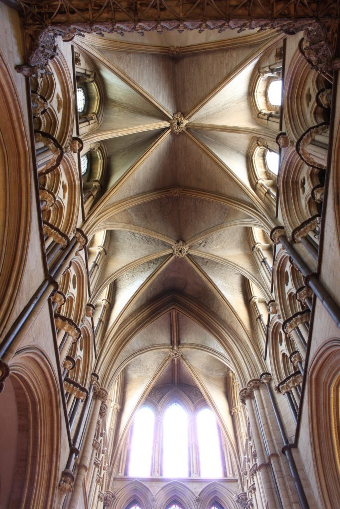 Image of the east transept vault at Lincoln Cathedral, south arm, looking south