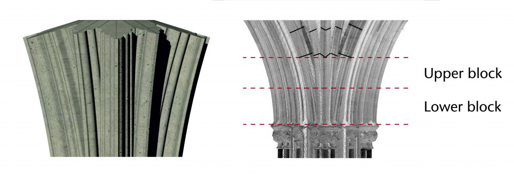 Left: Image of 3D model of tas-de-charge stones in southwest choir aisle at Wells Cathedral; right: orthophoto of longitudinal section of tas-de-charge stones in n southwest choir aisle at Wells Cathedral, showing upper and lower block cuts with horizontal red lines