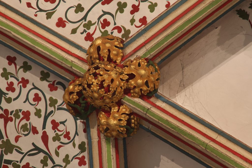 Image of boss from the crossing point between tiercerons and the principal ribs of the vault in the Lady Chapel at Wells Cathedral