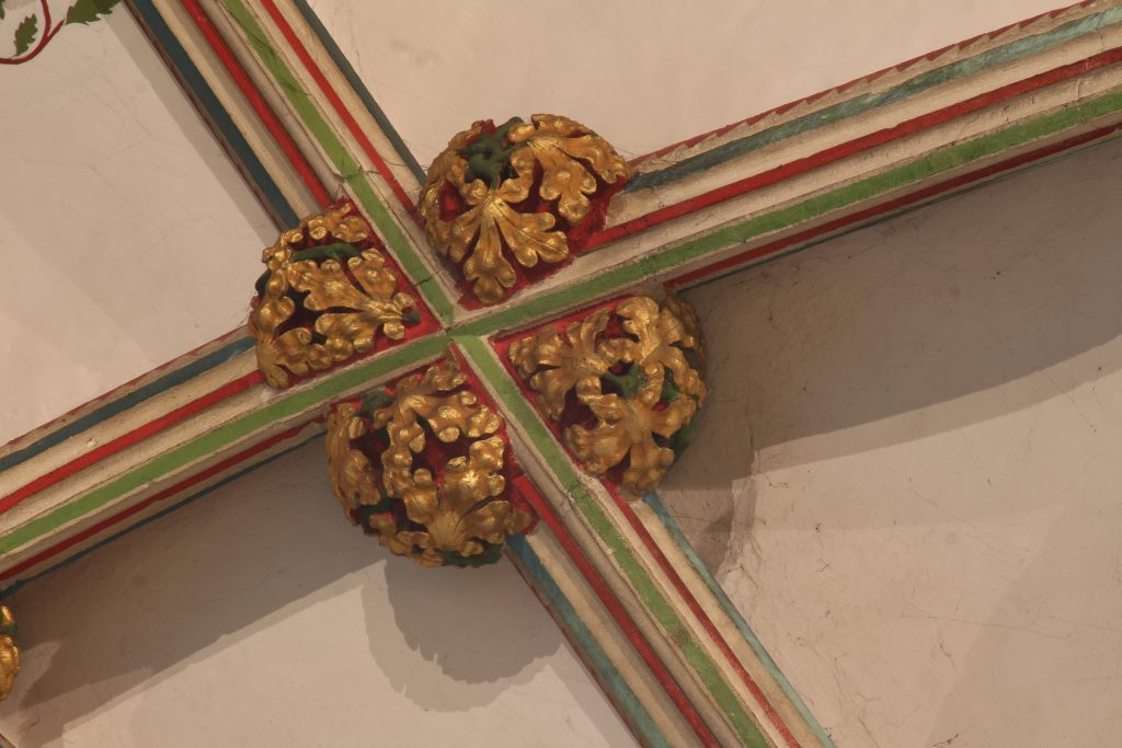 Image of bosses from the crossing points between liernesin the Lady Chapel at Wells Cathedral