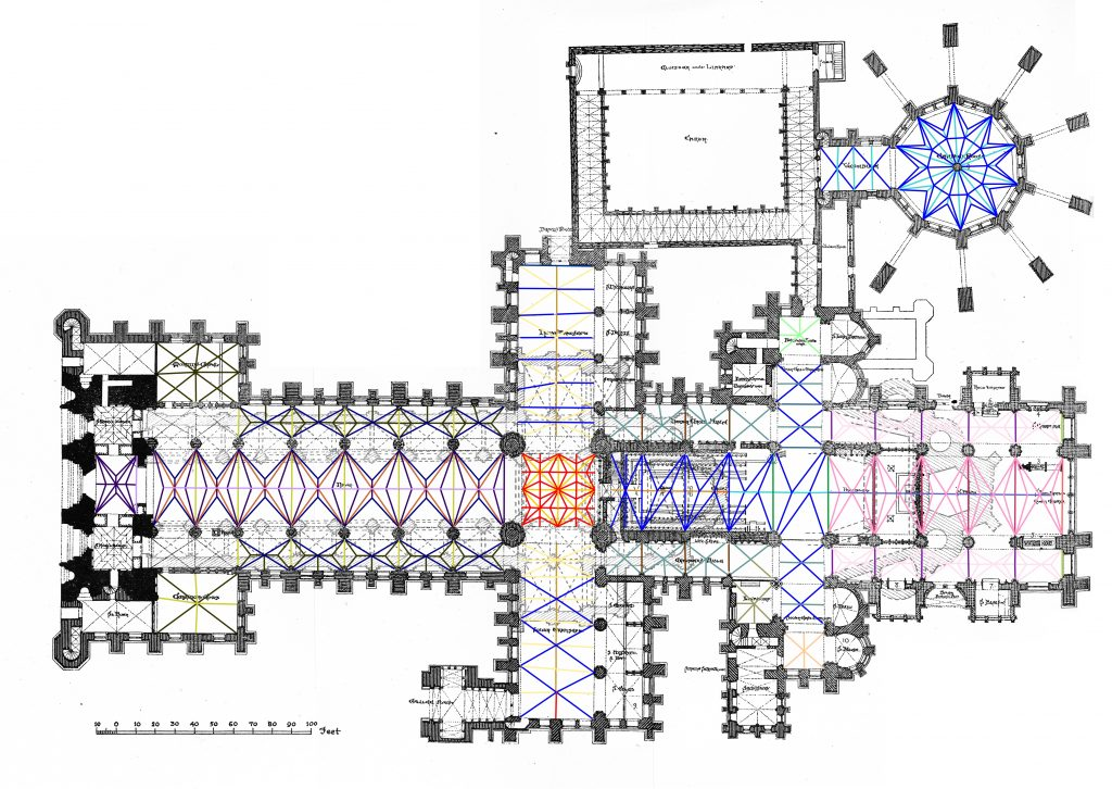 Plan showing variation in rib moulding profiles at Lincoln Cathedral