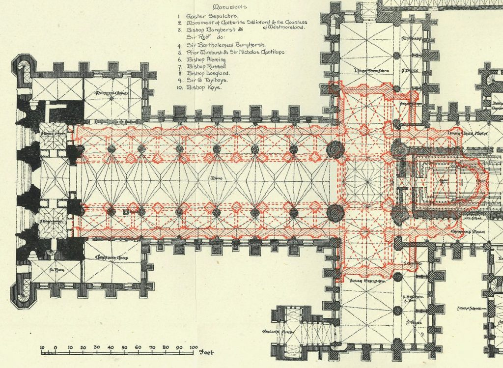 Plan of Lincoln Cathedral showing ground plan of previous iteration of the building in red