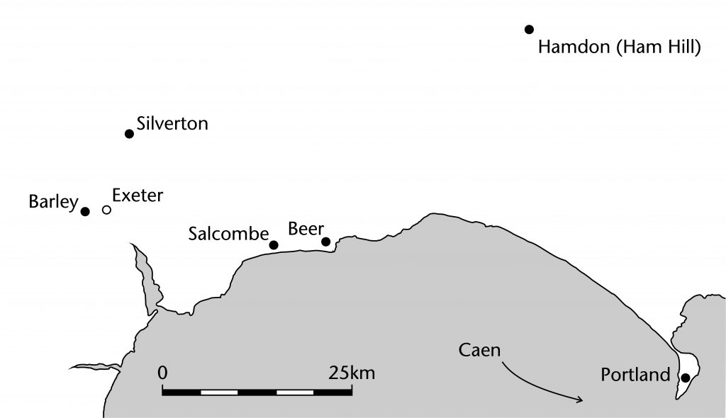 Map of quarry sites used for the works at Exeter Cathedral
