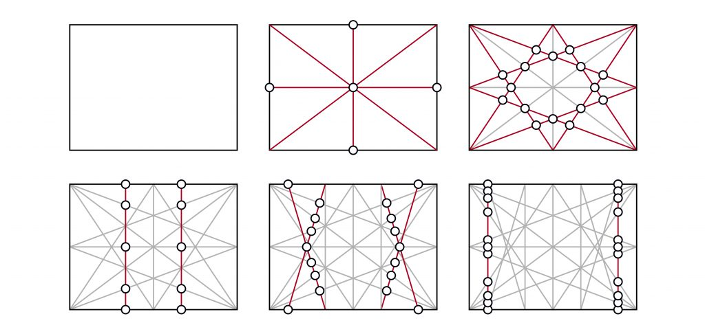 Diagram showing an iterative series of points of intersection generated using a geometrical design process