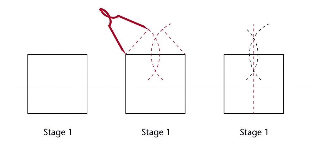 Diagram of step-by-step process for setting out a perpendicular bisector