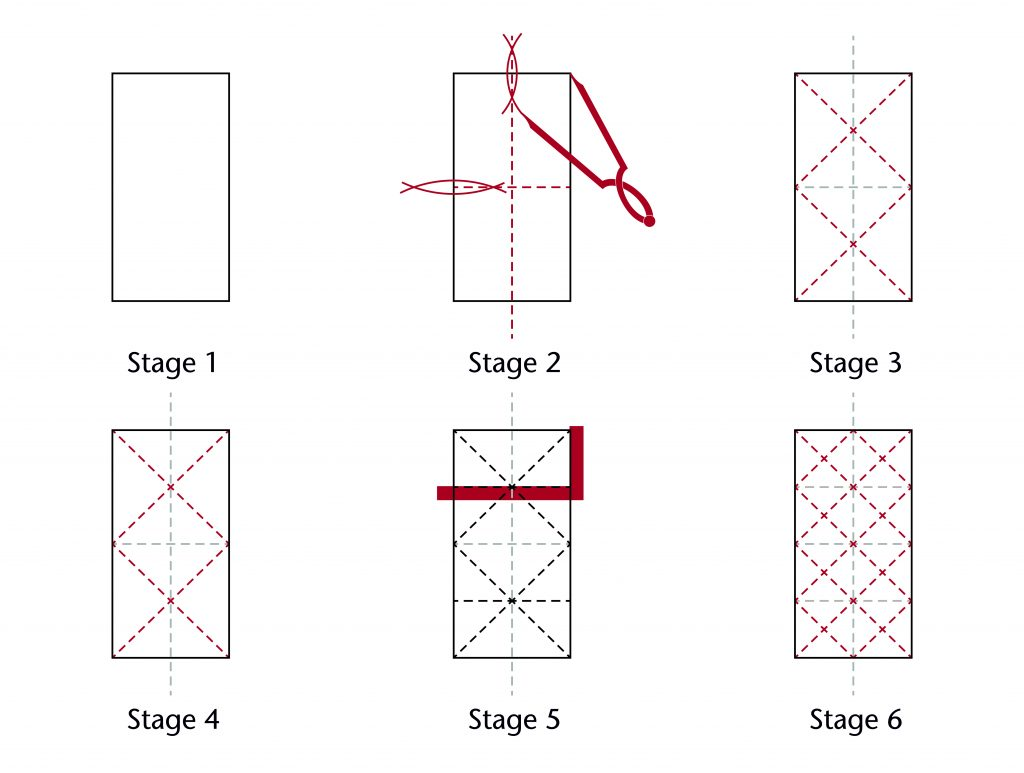 Diagram of step-by-step design process for the choir vault at Wells Cathedral