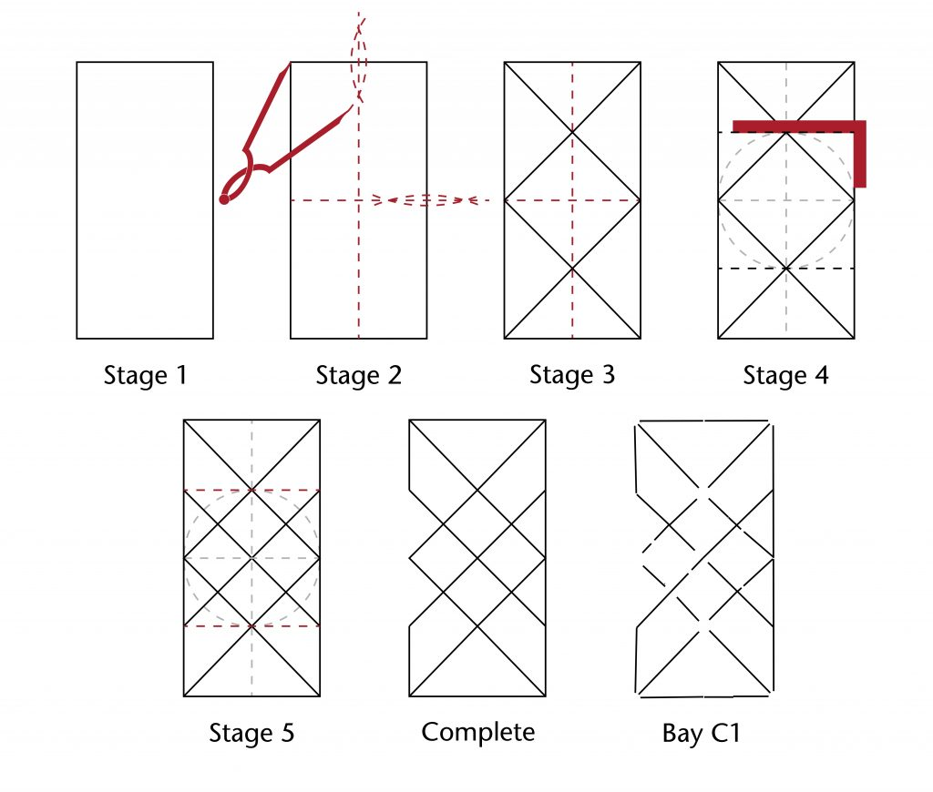 Image of step-by-step design process for the plan of the vaults in the Lady Chapel at Ottery St Mary