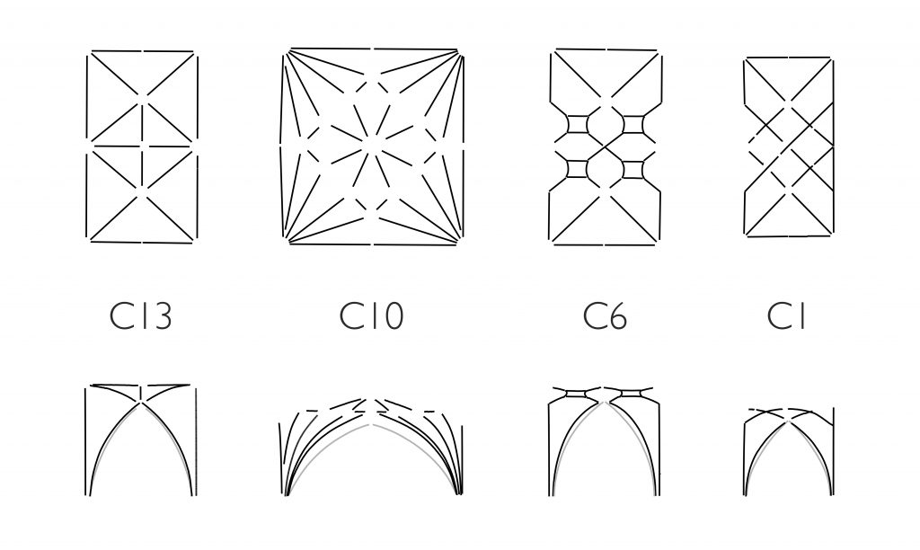 Image of plans and longitudinal sections of vaults at Ottery St Mary