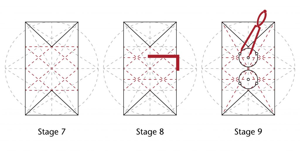 Image of step-by-step process for setting out the vault plan in the choir at Ottery St Mary