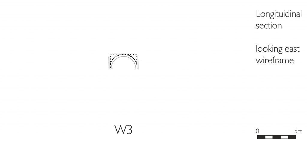 Longitudinal section of wireframe model of medieval groin vault in the West Range at Norton Priory