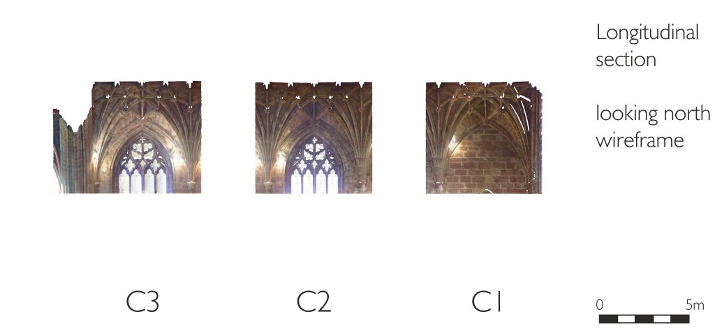 Longitudinal section of mesh model of choir at St Mary's Church, Nantwich