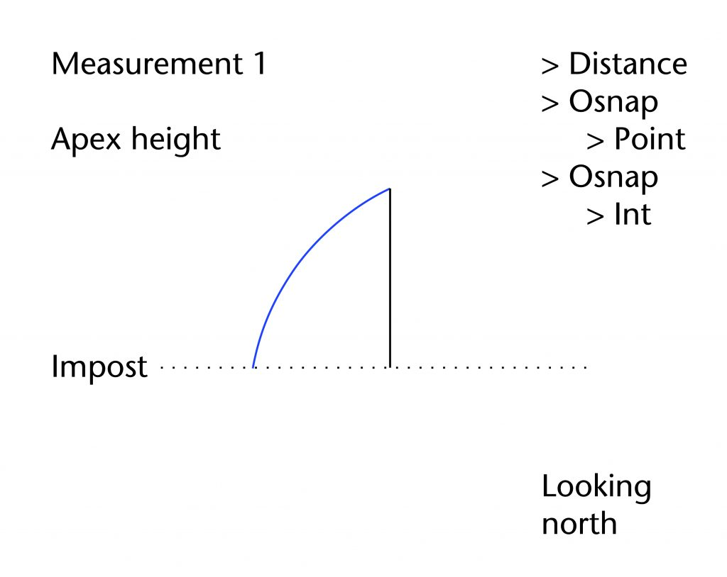 Diagram of apex height measurement showing Rhinoceros commands used in the measuring process