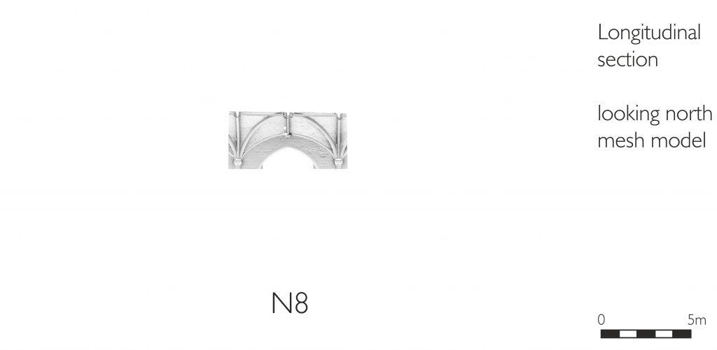 Longitudinal section of mesh model of nave aisles at Tewkesbury Abbey, looking north