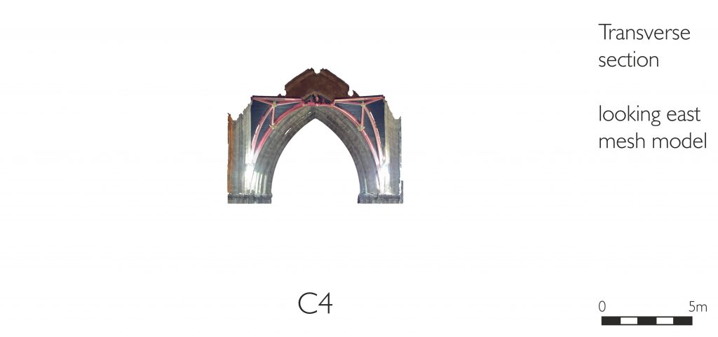 Transverse section of mesh model of crossing at St Mary's Church, Nantwich