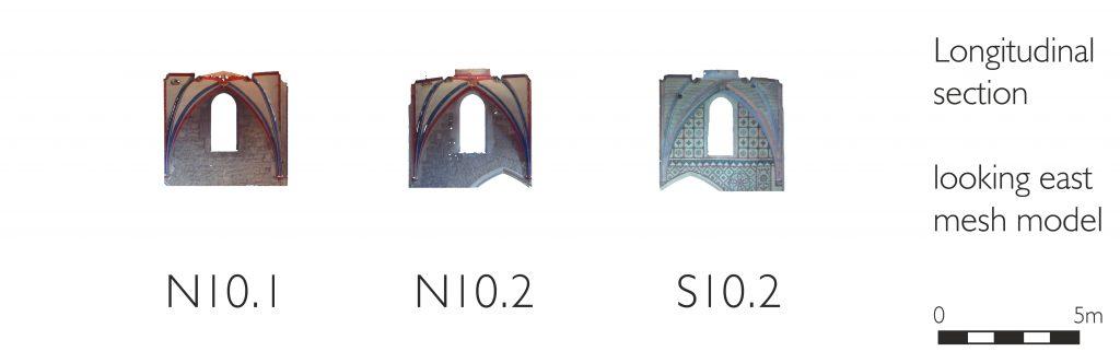 Longitudinal section of mesh model of transept at Ottery St Mary