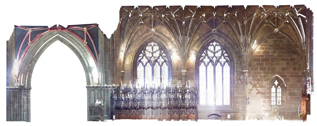 Orthophoto of longitudinal section of St Mary's Church, Nantwich, looking north