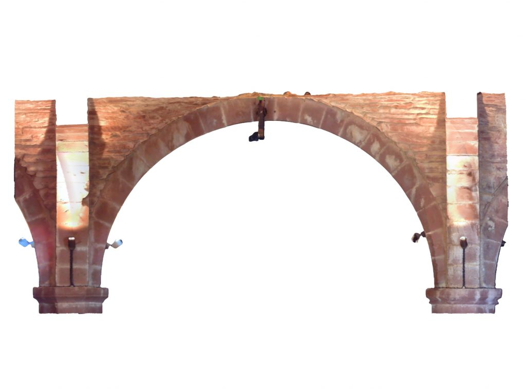 Longitudinal section of mesh model of medieval groin vault in West Range at Norton Priory