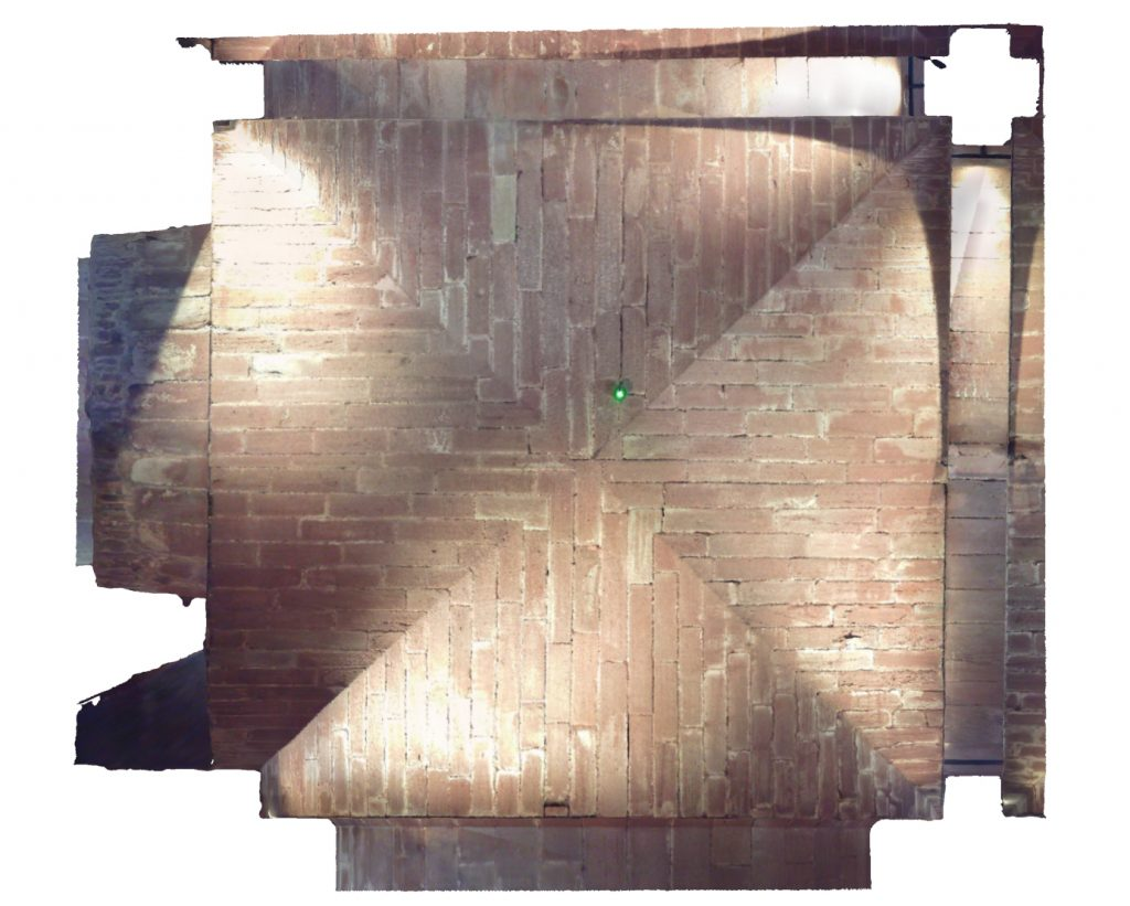 Plan view of mesh model of modern groin vault in West Range at Norton Priory