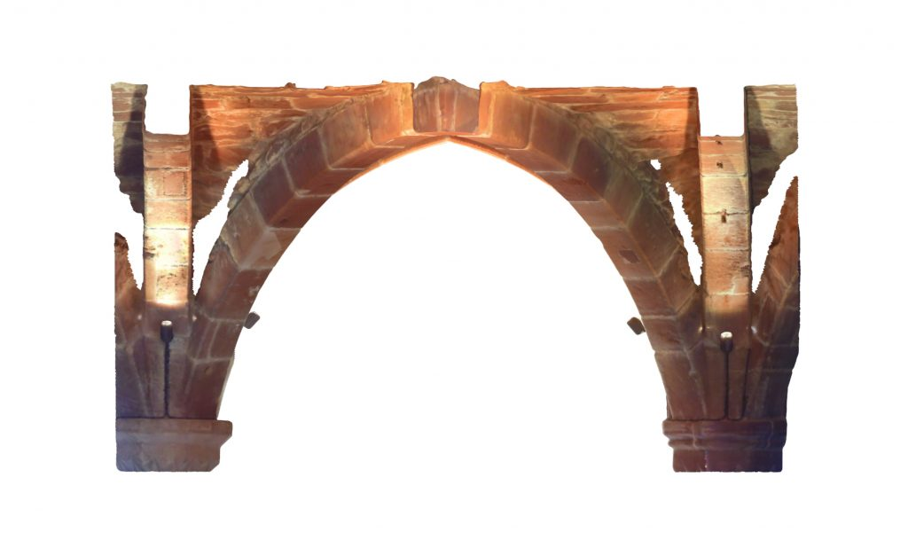Longitudinal section of mesh model of rib vaulted bays at Norton Priory