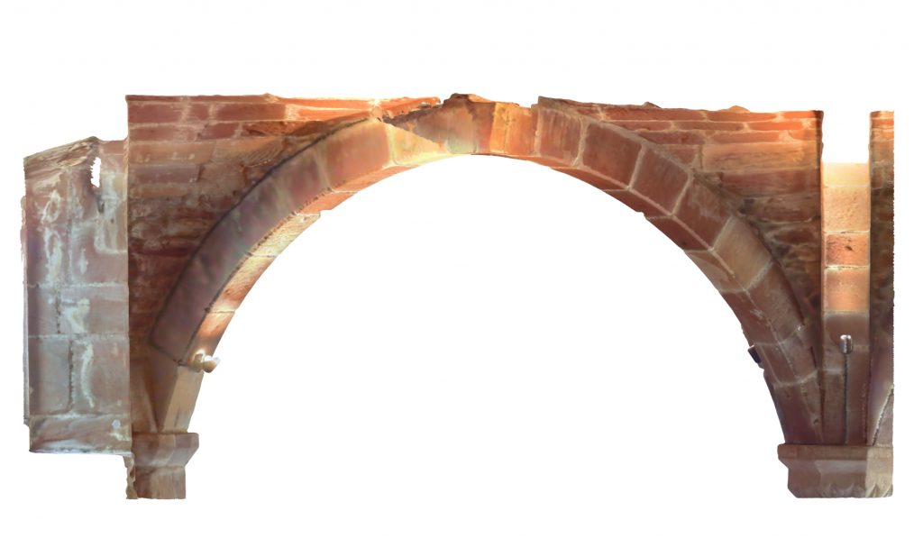 Transverse section of mesh model of rib vaulted bays at Norton Priory