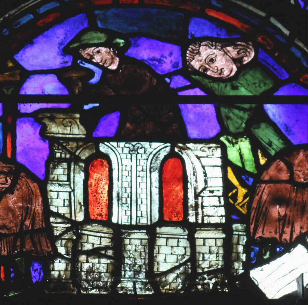 Image of stonelayers at work from the St Cheron Window at Chartres Cathedral