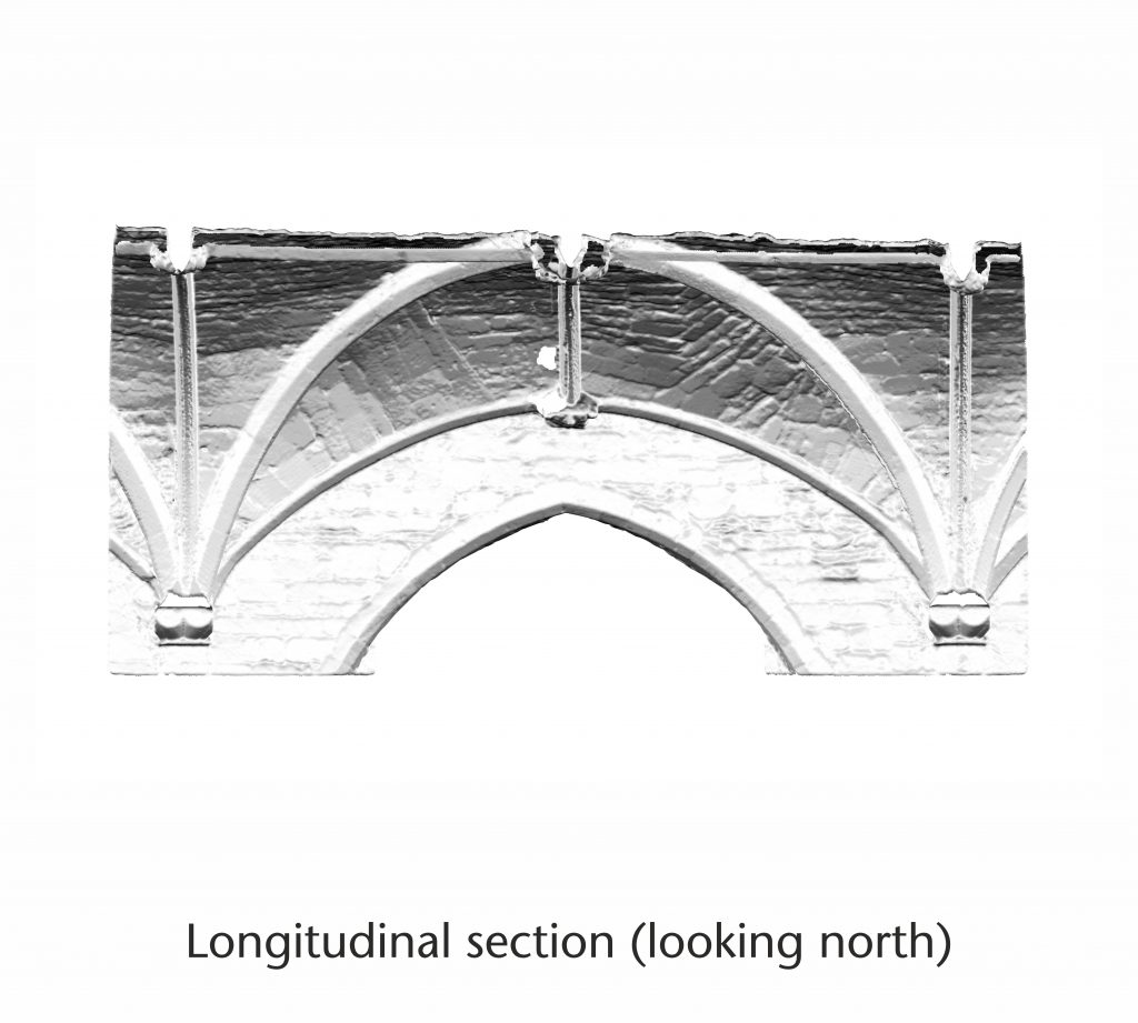 Longitudinal section of normal vector visualisation for the north nave aisle at Tewkesbury Abbey, looking north