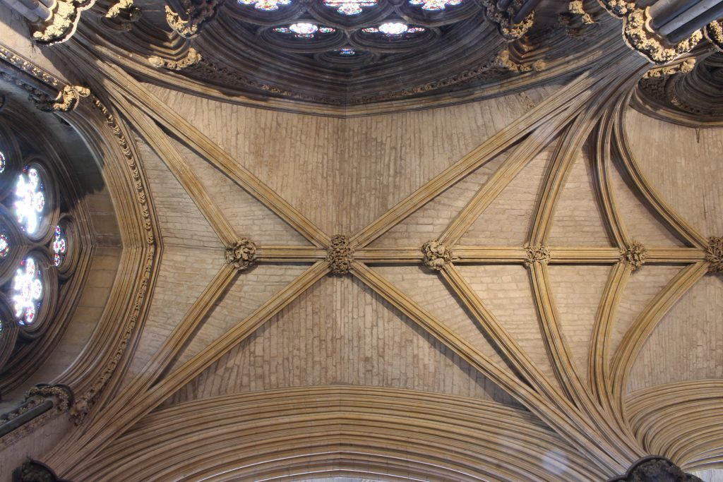 Image of the easternmost bay of the north aisle in the Angel Choir at Lincoln Cathedral, showing details of the masonry of the webbing