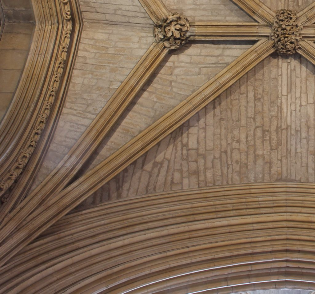 Detail of web masonry showing unconformities from the easternmost bay of the north aisle of the Angel Choir at Lincoln Cathedral