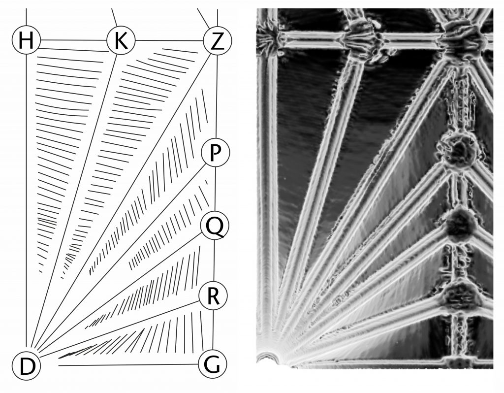 Detail showing course tracing (left) and normal vector visualisation (right) of ploughsharing effect in the choir vault at Exeter Cathedral