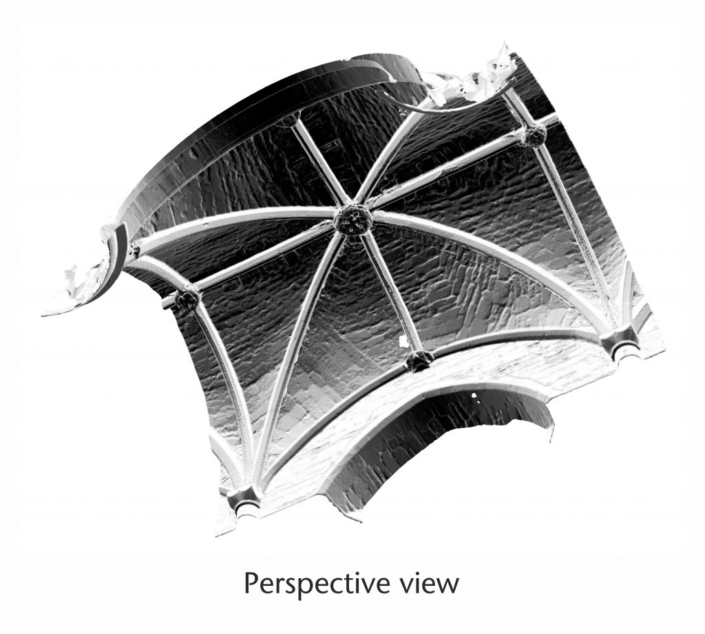 Perspective view of normal vector visualisation for the north nave aisle at Tewkesbury Abbey