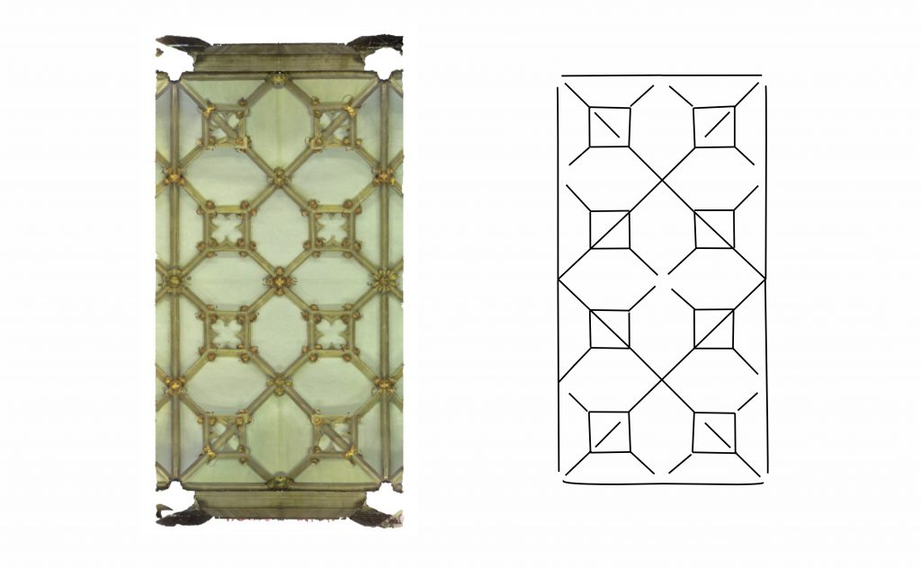 Plan view of mesh and wireframe models of choir vault at Wells Cathedral