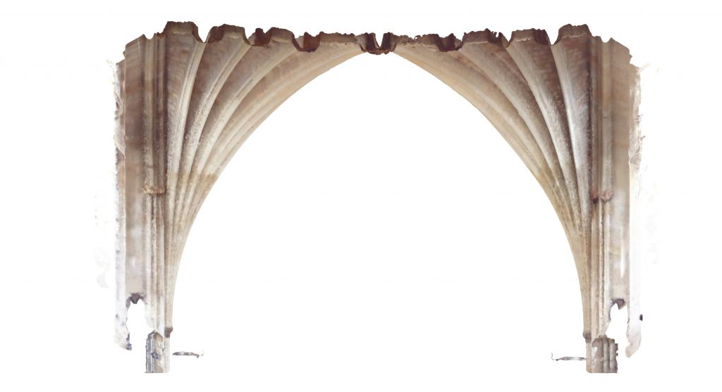 Transverse section of mesh model of the nave at Exeter Cathedral