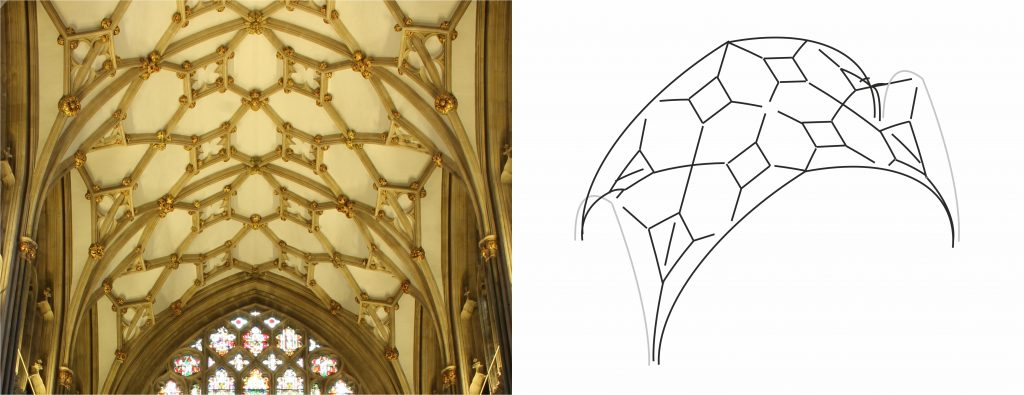 Photograph and wireframe model of the choir vault at Wells Cathedral