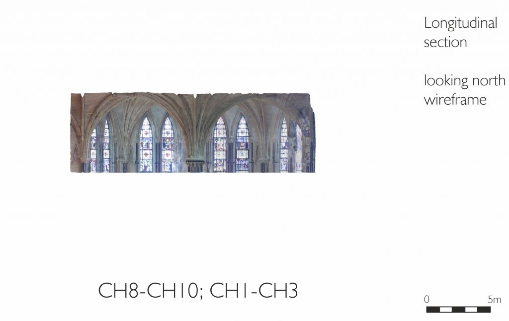 Longitudinal section of mesh model of Chapter House at Lincoln Cathedral