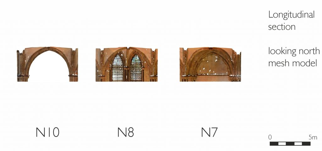 Longitudinal section of mesh model of St Hugh's Choir aisles at Lincoln Cathedral