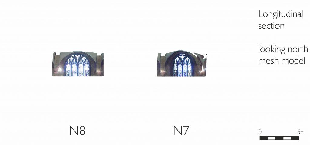 Longitudinal section of mesh model of presbytery ambulatory at Gloucester Cathedral