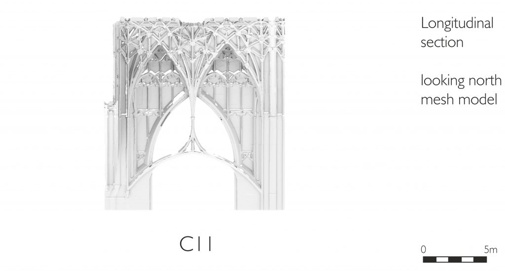 Longitudinal section of mesh model of choir (crossing) at Gloucester Cathedral