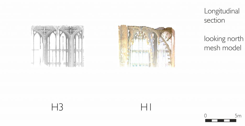 Longitudinal section of mesh model of the Henry VII Chapel at Westminster Abbey