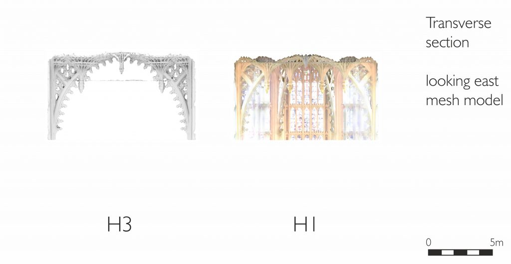 Transverse section of mesh model of the Henry VII Chapel at Westminster Abbey