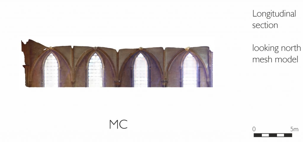 Longitudinal section of mesh model of Morning Chapel at Lincoln Cathedral