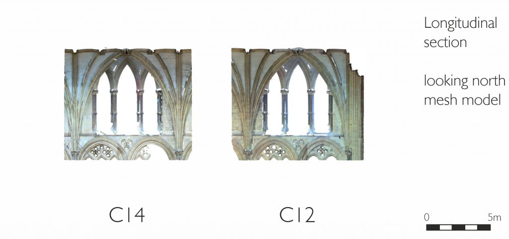 Longitudinal section of mesh model of nave at Lincoln Cathedral